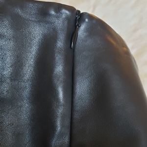 Cache' black leather pencil skirt